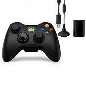 Official Microsoft Black Wireless Controller with Play & Charge Kit Xbox 360
