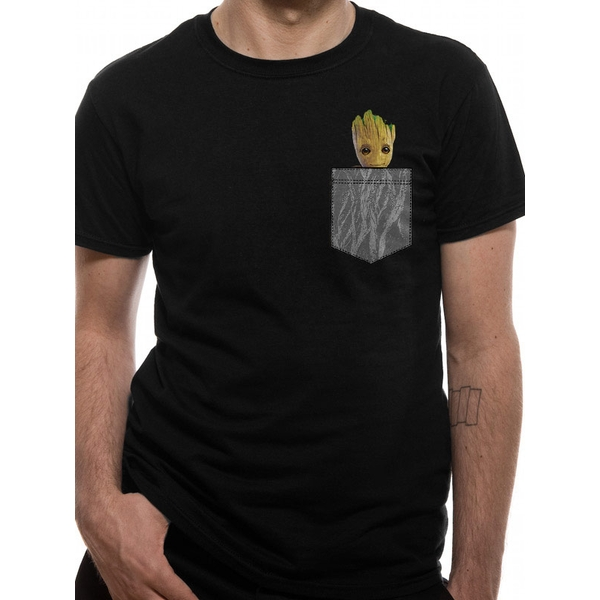 Guardians Of The Galaxy - Cosy Groot Pocket Men's Small T-Shirt - Black