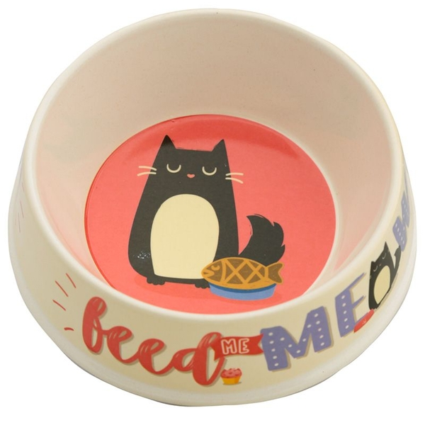 Bambootique Eco Friendly Feed Meow Feline Fine Cat Pet Bowl