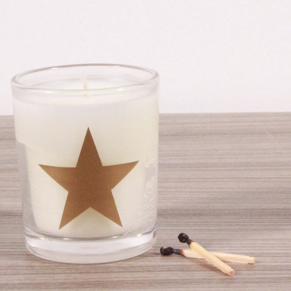 Star (Gold) Alphabet Candle in Votive Glass