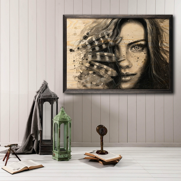 Ind?an Woman Multicolor Decorative Framed Wooden Painting