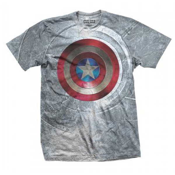 Marvel Comics Captain America Civil War Shield with Sublimation Printing Men's XX-Large T-Shirt - Grey