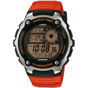 Casio World Time LCD Watch Orange