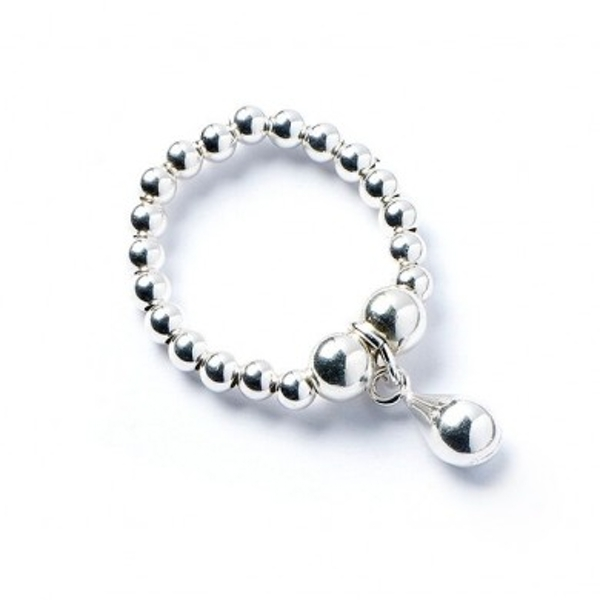 Teardrop Charm  with Sterling Silver Ball Bead Ring