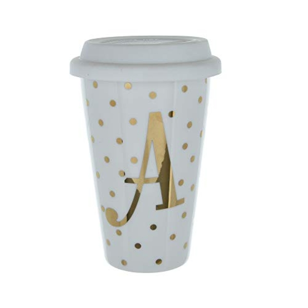 Initials A Double Walled Travel Mug With Silicone Lid - Gold Spots