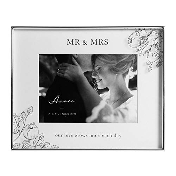 """7"""" x 5"""" - AMORE BY JULIANA? Silver Floral Frame - Mr & Mrs"""