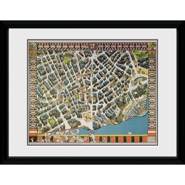 "Transport For London Stylised Map 12"" x 16"" Framed Collector Print"