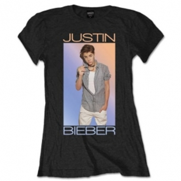 Justin Bieber Colorfade Ladies Black T Shirt Small