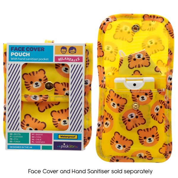 Cutiemals Tiger Face Covering & Hand Sanitiser Pouch