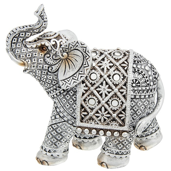 Silver Diamond Elephant Medium Ornament