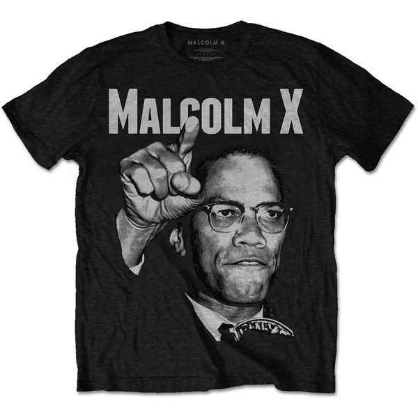 Malcolm X - Pointing Unisex X-Large T-Shirt - Black