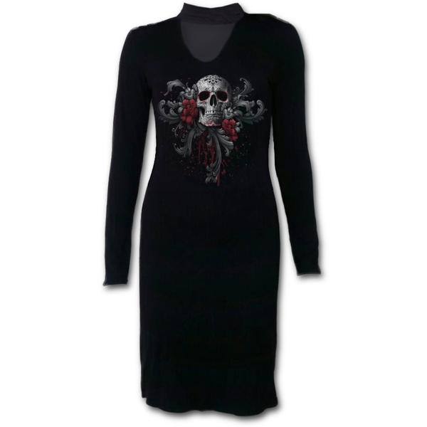 Skull Roses Women's Small Neck Band Elegant Dress- Black