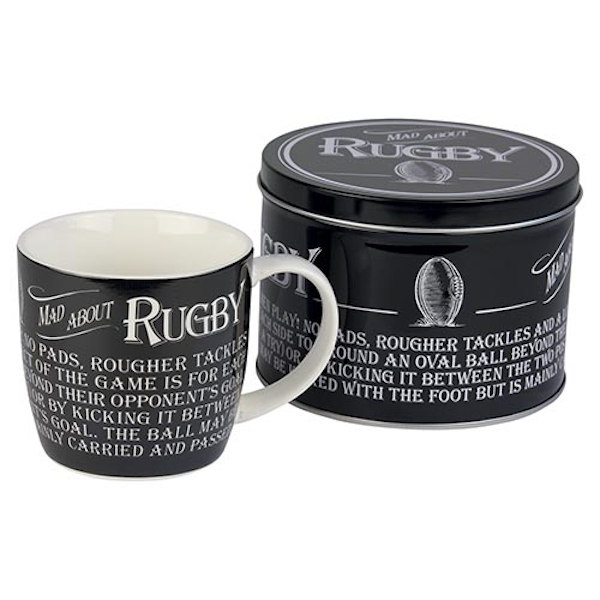 Ultimate Gift for Man Mug in a Tin Rugby