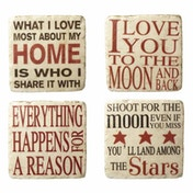 Happy Sayings Resin Cream/Red Coasters By Heaven Sends