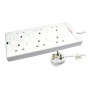 Spire Mains Power Multi Socket Extension Lead, 6-Way, 3M Cable, Surge Protected, Individually Switched