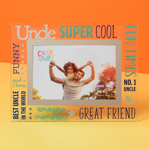 """6"""" x 4"""" Cheerful Glass Photo Frame - Uncle"""