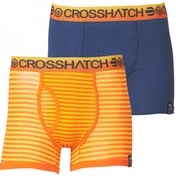 Crosshatch 2 Pack Mens Boxer Shorts Orange & Indigo Large