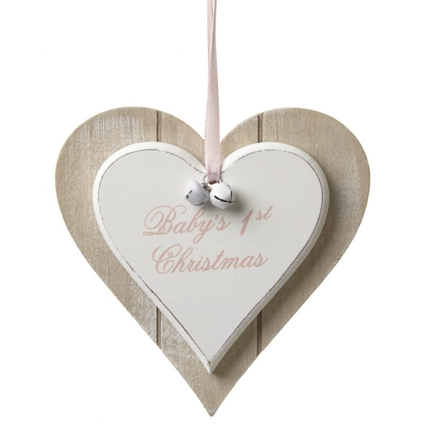 Baby's 1st Christmas Hanging Wooden Heart Decoration by Heaven Sends (Pink)