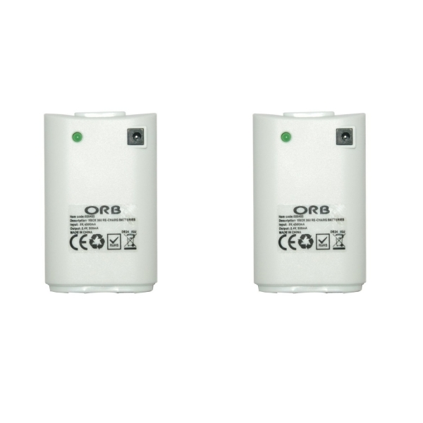 ORB Dual Charge And Play Battery Pack White Xbox 360 - Image 2