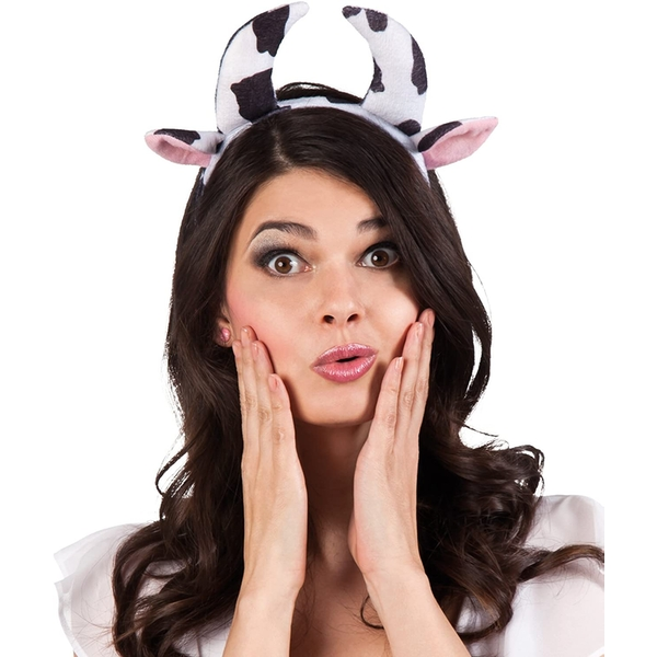 Fancy Dress Farmyard Cow Ears and Horns on Headband