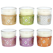 Karma Scented Candle with Decorative Glass Pack Of 6