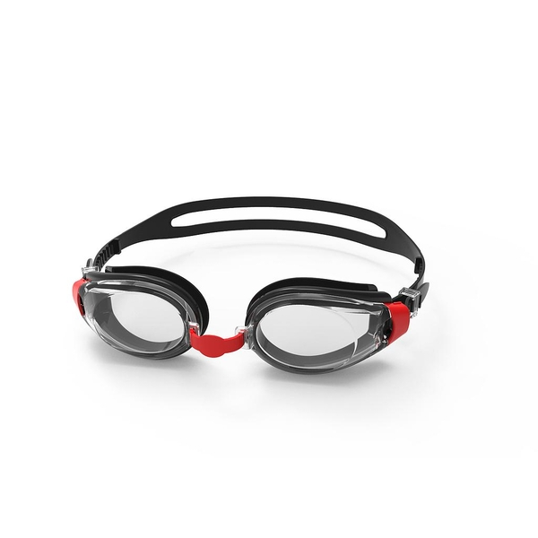 SwimTech Fusion Goggles  Black/Red/Clear