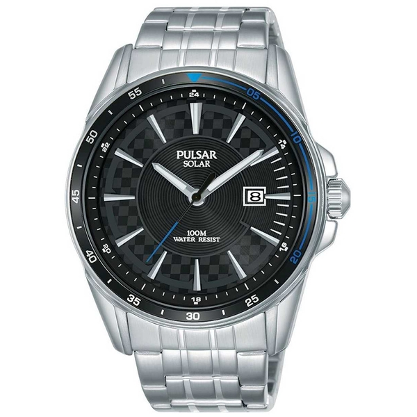 Pulsar PX3203X1 Mens Solar Sports Stainless Steel Bracelet Black Dial 100M Watch