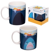 Shark Cafe Heat Colour Changing New Bone China Mug
