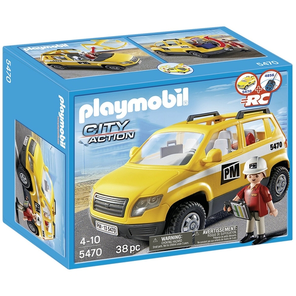 Playmobil City Action Construction Site Supervisor's Vehicle - Yellow