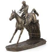 Horse Racing Clearing The Last by David Geenty Cold Cast Bronze Sculpture