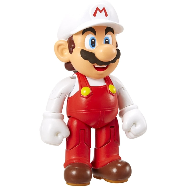 """Fire Mario With Fire Flower (Super Mario) World Of Nintendo 4"""" Action Figure"""