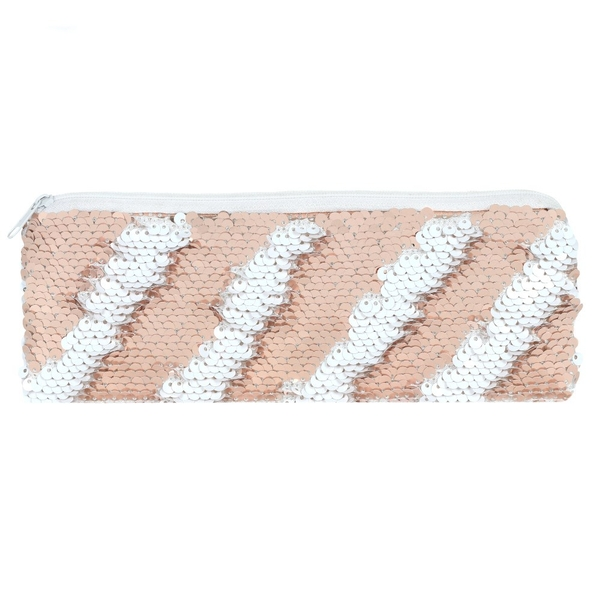 Pink and White Reversible Sequin Pencil Case