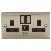 Power Knight 2 UK Sockets 2 X 2 AMP USB Brushed Chrome