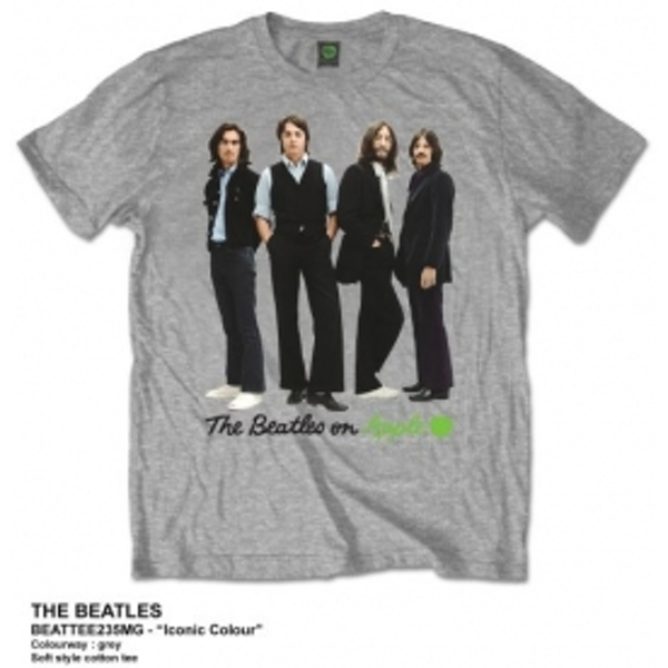 The Beatles Iconic Colour Mens Grey Tshirt: X Large