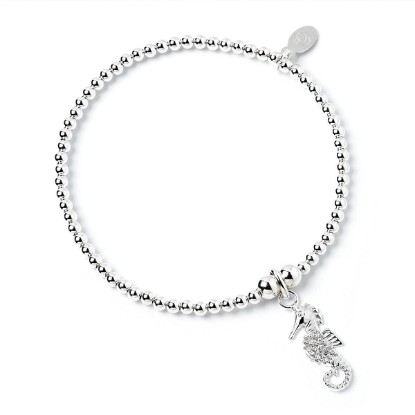 Crystal Seahorse Charm with Sterling Silver Ball Bead Bracelet