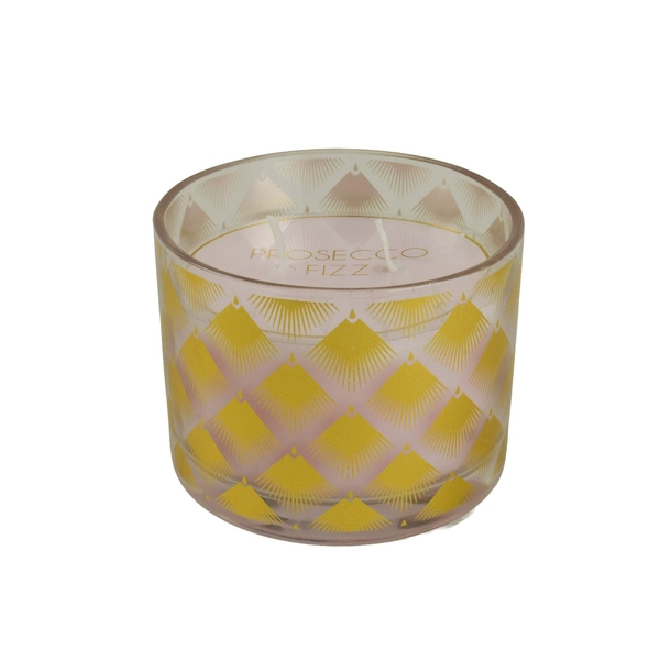Deco Glam 2 Wick Wax Filled Candle Pot Prosecco Scent