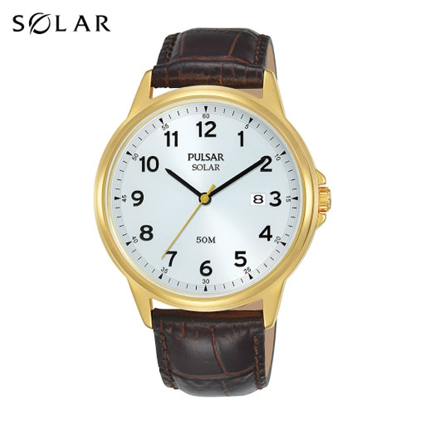 Pulsar PX3200X1 Mens Solar Brown Classic Leather Strap Gold Case 50M Watch