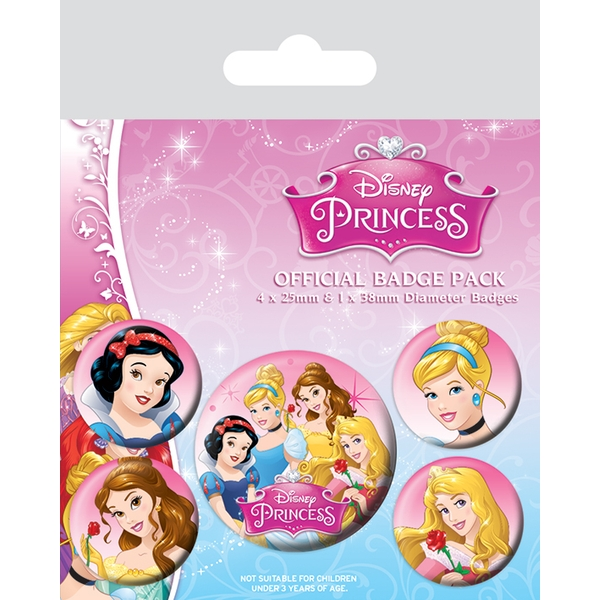 Disney Princess - Belle, Cinderella, Snow White and Aurora Badge Pack