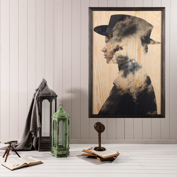 Cloud Man XL Multicolor Decorative Framed Wooden Painting