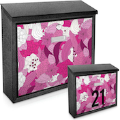 Floral Pink Printed Mail Box - add your  house number / name for a unique mail box!
