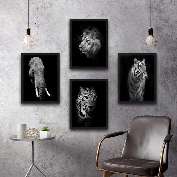 Animals Set Multicolor Decorative Framed Painting (4 Pieces)