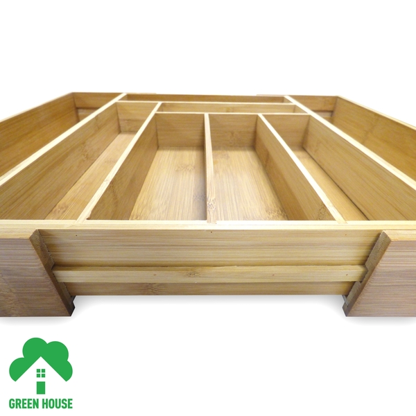 Bamboo Extending Cutlery Drawer Tray With Adjustable Compartments Green House - Image 7