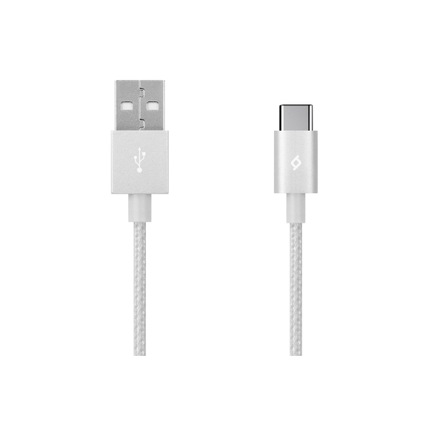TTEC AlumiCable 1.2m Type-C 2.0 to USB Data and Charging Cable - Silver