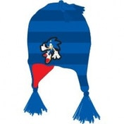 Sonic Blue Striped Beanie With Poms
