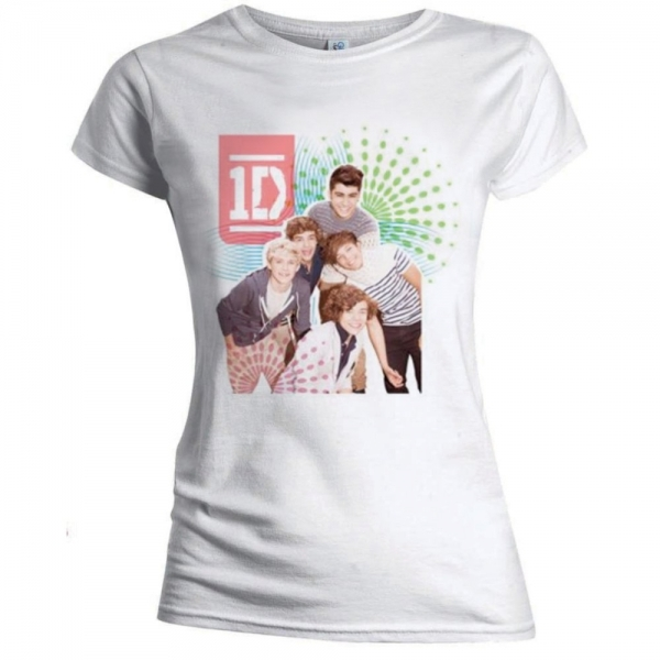 One Direction Colour Test Skinny White Ladies T-Shirt Medium