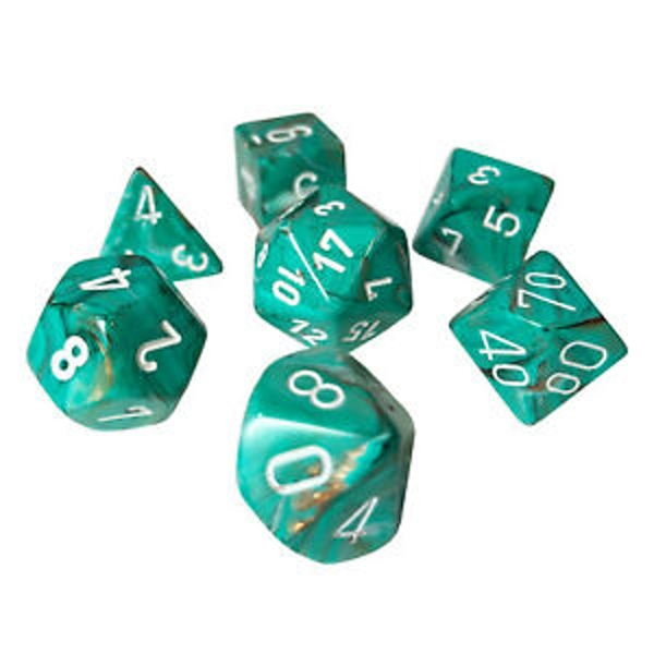 Chessex Poly 7 Dice Set: Marble Oxi-Copper With White