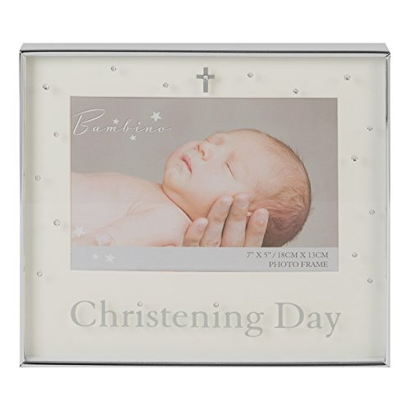 """7"""" x 5"""" - Bambino Silver Plated Photo Frame - Christening"""