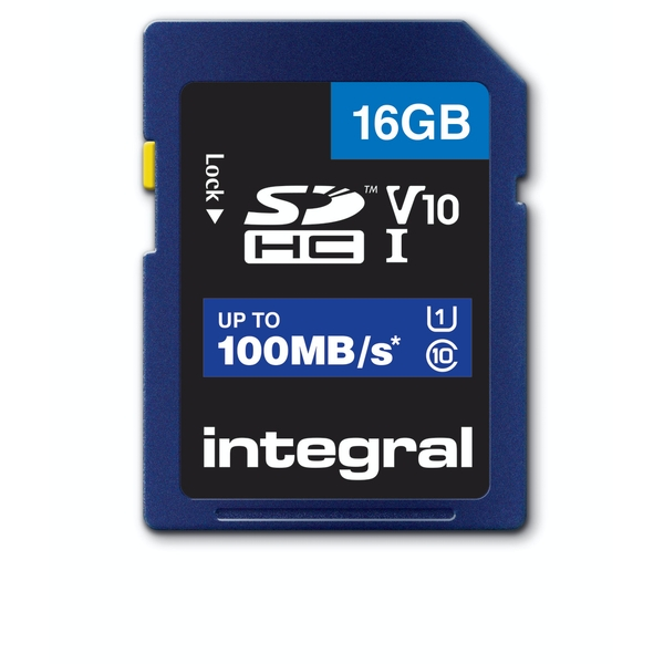 Image of Integral 16GB SD Card SDHC UHS-1 U1 Cl10 V10 Up To 100Mbs Read