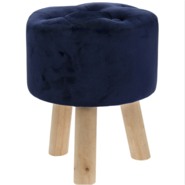 Blue Velvet Stool By Lesser & Pavey