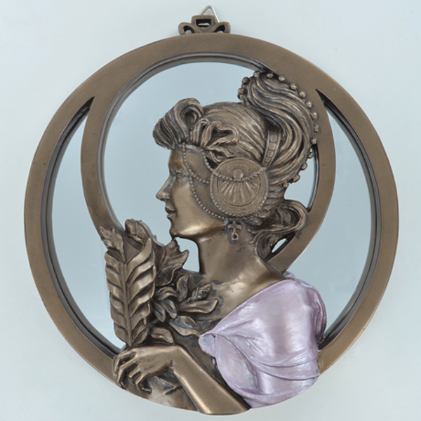 Art Nouveau Lady Mirror With Leaves